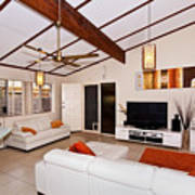 Living Room With Sloping Ceiling Art Print