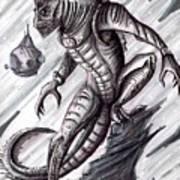 Lizard Warrior Art Print