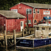 Lobster Market In Boothbay Harbor Art Print