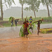Local People Crossing The Road In Malawi Art Print