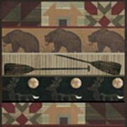 Lodge Cabin Quilt Art Print