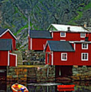 Lofoten Fishing Huts Oil Art Print