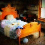 Log Cabin Bedroom Art Print