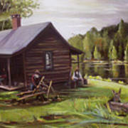 Log Cabin By The Lake Art Print