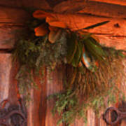 Log Cabin Christmas Decor Art Print