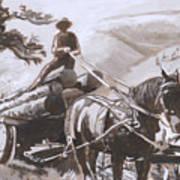 Log Wagon Historical Vignette Art Print