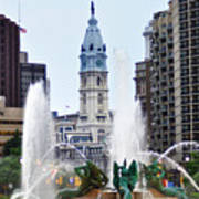 Logan Circle Fountain With City Hall In Backround Art Print by Bill Cannon