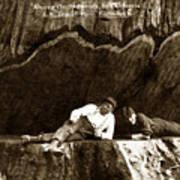 Logger With Ax On Springboard Loggers Sitting Inside Undercut  Circa 1890 Art Print