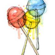 Lollipop Candy Watercolor Art Print