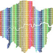 London Boroughs Map - Rainbow Art Print