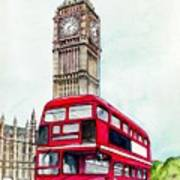London Bus And Big Ben Art Print