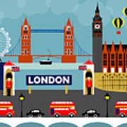London England Horizontal Scene - Collage Art Print