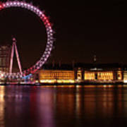 London Eye At Night Art Print