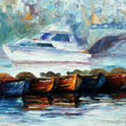 London-fog Over Thames - Palette Knife Oil Painting On Canvas By Leonid Afremov Art Print