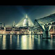 London Landmarks By Night Art Print