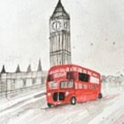 London Red Bus Art Print