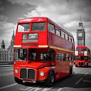 London Red Buses On Westminster Bridge Art Print