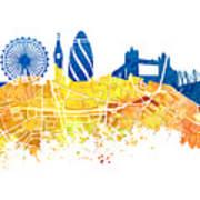London Skyline Map City London Eye Art Print
