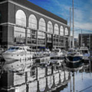 London. St. Katherine Dock. Reflections. Art Print