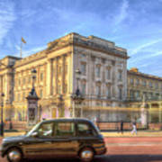 London Taxi And Buckingham Palace  Art Print