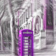 London Telephone Purple Art Print