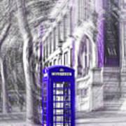 London Telephone Purple Blue Art Print