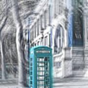 London Telephone Turquoise Art Print