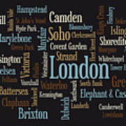 London Text Map Art Print