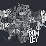 London Uk Text Map Print by Michael Tompsett