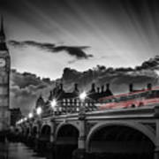 London Westminster Bridge At Sunset Art Print
