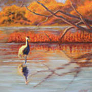 Lone Crane Still Water Art Print