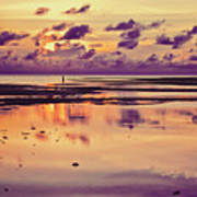 Lone Fisherman In Distance During Beautiful Reflected Sunset With Dramatic Clouds In Maldives Art Print