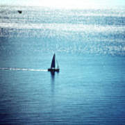 Lone Sailboat At Dawn Art Print