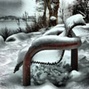 Lonely Bench In Snowfall Art Print