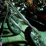 Long Front Fork And Wheel Of Chopper Bike At Night Art Print