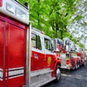 Long Line Of Fire Trucks Art Print