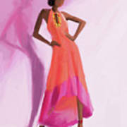 Long Orange And Pink Dress Fashion Illustration Art Print Art Print