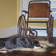 Long Wait - Dog - Wheelchair Art Print