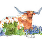 Longhorn In The Cactus And Bluebonnets Lh014 Kathleen Mcelwaine Art Print