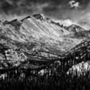 Longs Peak Rocky Mountain National Park Black And White Art Print