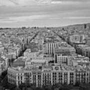 Looking Down On Barcelona From The Sagrada Familia Black And White Art Print