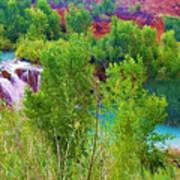 Looking Down On Navajo Falls And Havasu Creek Art Print
