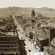 Looking Up Market Street From The Call Building With City Hall Circa 1900 Art Print