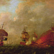 Lord Howe And The Comte Destaing Off Rhode Island Art Print