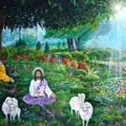 Lord Jesus And Lord Krishna Art Print