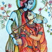 Lord Radha Krishna's Divine Love Art Print by Kavita Sarawgi