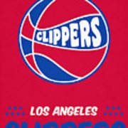 Los Angeles Clippers Vintage Basketball Art Art Print