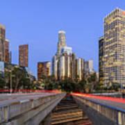 Los Angeles Downtown Night Scene Art Print