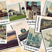 Los Angeles Polaroid Collage Art Print