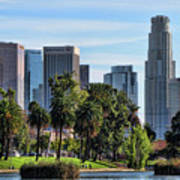 Los Angeles Skyline From Echo Park Art Print